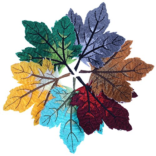 JUNKE 8 PCS Colorful Maple Leaf Embroidery Patches Applique Embroidered Iron on Patches for Jeans, Jackets, Clothes, Backpacks, (Maple Leaf Applique)