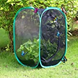 Qingo Collapsible Insect and Butterfly Habitat cage Terrarium Pop up open - 23.6 Inches Tall (Black)