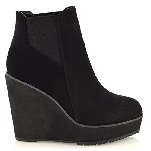 d5adad9257b ESSEX GLAM Womens Wedge Heel Chelsea Chunky Cleated Platform Ladies Ankle  Boots Shoes Size 3 4 5 6 7 8  Amazon.co.uk  Shoes   Bags