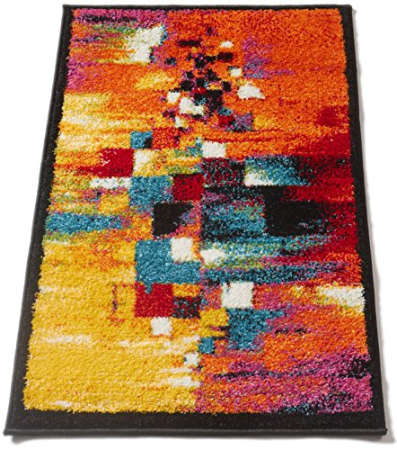 Champlain Multi Cubes Yellow Orange Blue Modern Abstract Painting Area Rug 2x3 (20