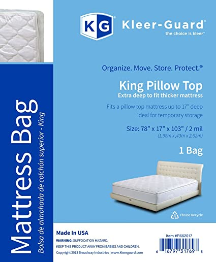 Kleer-Guard Extra Deep King Pillow Top Mattress Bag - Thick 2-Mil Mattress