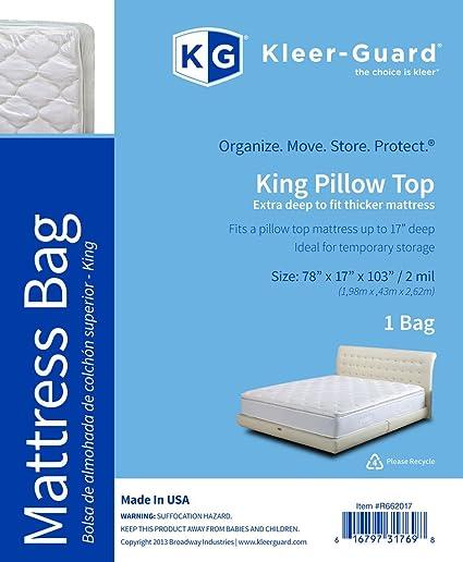 Kleer-Guard Extra Deep King Pillow Top Mattress Bag - Thick 2-Mil Mattress
