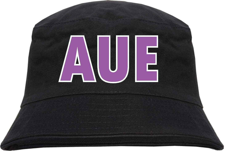 Aue Fischerhut - Bucket Hat Blockschrift lila weiss