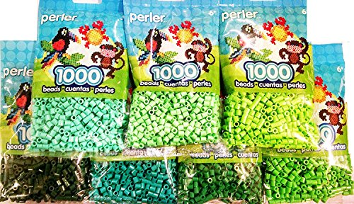 (Perler Bead, 7 Pack Green Group (Dark, Light, Pastel, Bright, Parrot Green, Evergreen, Kiwi)