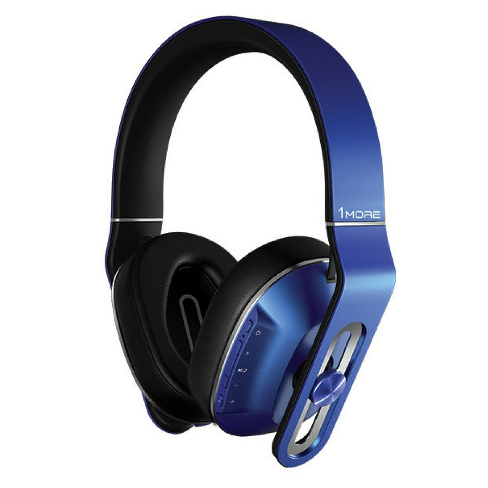 1MORE Wireless Over-Ear Headphones Bluetooth Comfortable Earphones with Bass Control, Durable Headband, Noise Cancellation Mic and In-Line Remote Controls for Apple iOS/Android/PC/Tablet - MK802 Blue