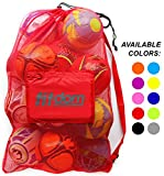 Extra Large Heavy Duty Soccer Ball Mesh Bag for Sports, Beach and Swimming Gears. Adjustable Shoulder Strap Made to Fit Adults and Kids. Secure Side Pocket for your Personal Item. 40x30 IN, Red