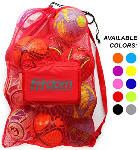 Extra Large Heavy Duty Soccer Ball Mesh Bag for Sports, Beach and Swimming Gears. Adjustable Shoulder Strap Made to Fit Adults and Kids. Secure Side Pocket for your Personal Item. 40×30 IN, Red