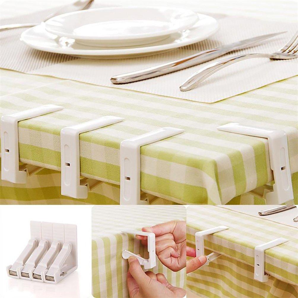 Bismarckbeer Set di 4 ganci fermatovaglia in plastica pratici e perfetti per fissare la tovaglia al tavolo
