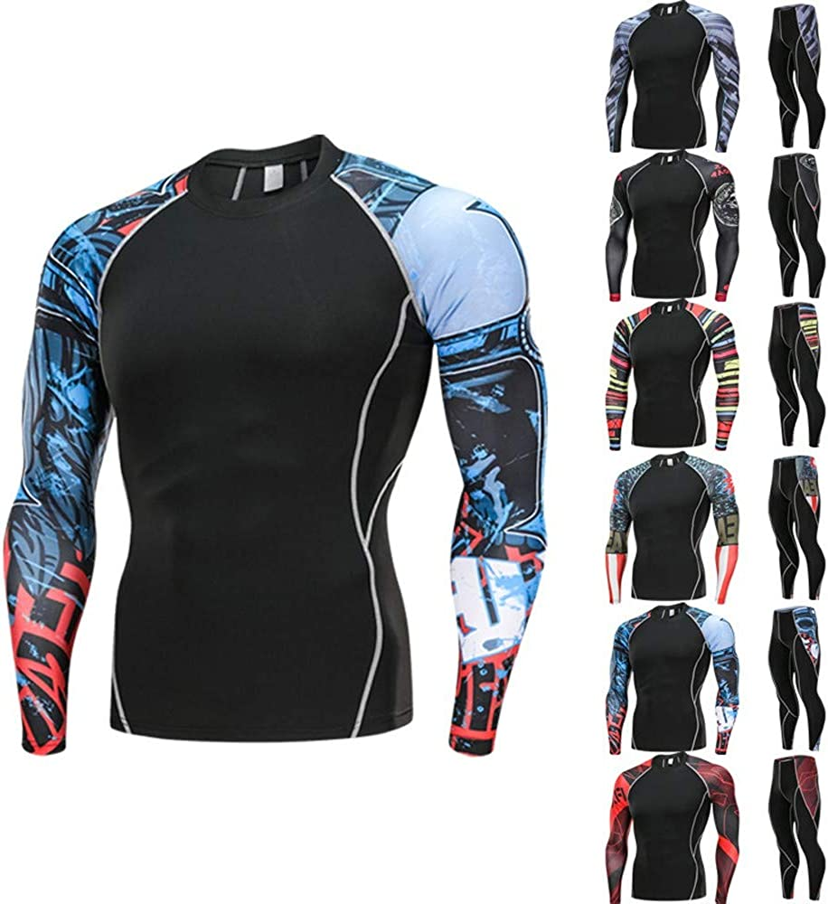 STORTO Winter Warm Up Fleece Compression Base Layers Suits with Shirts and Pants