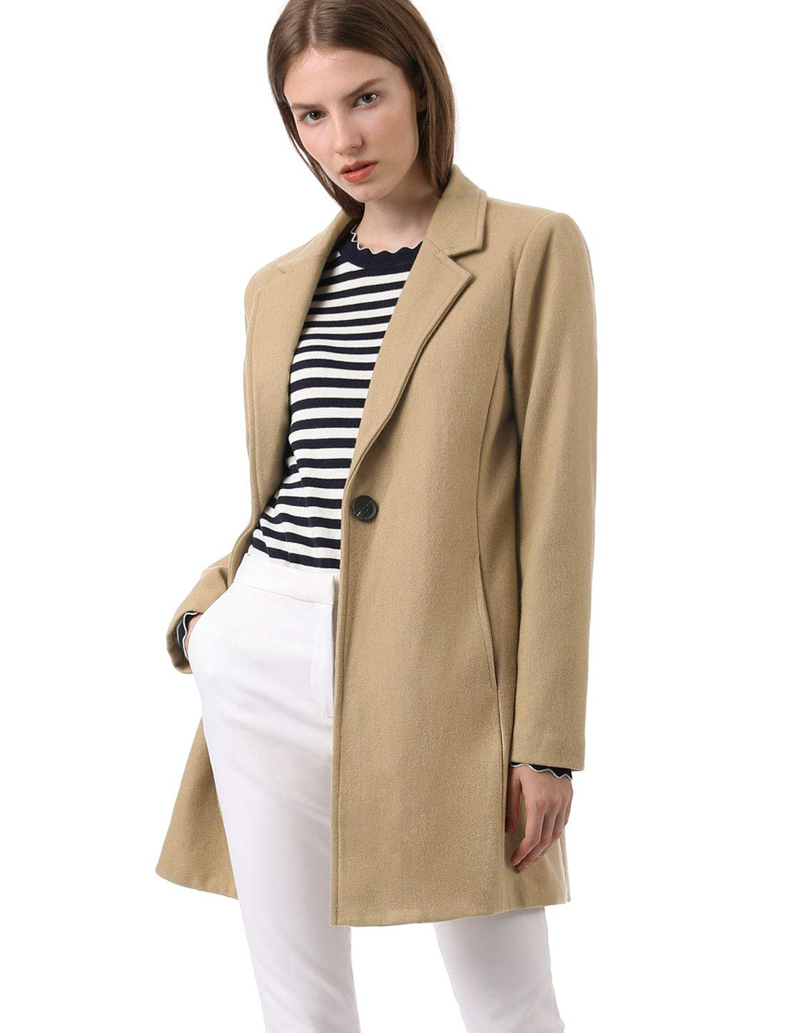 Allegra K Women's Notched Lapel Buttoned Trench Coat M Camel by Allegra K