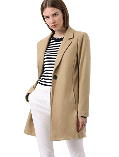 0476c2d35 Allegra K Women's Notched Lapel One Button Trench Coat