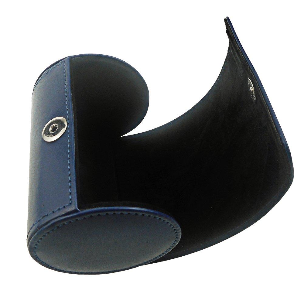 Pochette de rangement en cuir PU Cylindre en forme de rouleau pour homme 3.1 x4.3 bleu