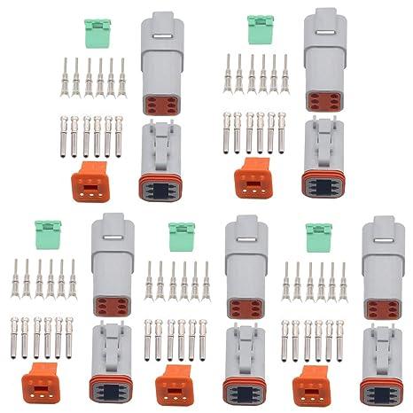 3S DT04 3P 1/Kit de jeux de Deutsch DT 3/broches plug connecteur /étanche fil /électrique pour 22 16/AWG DT06