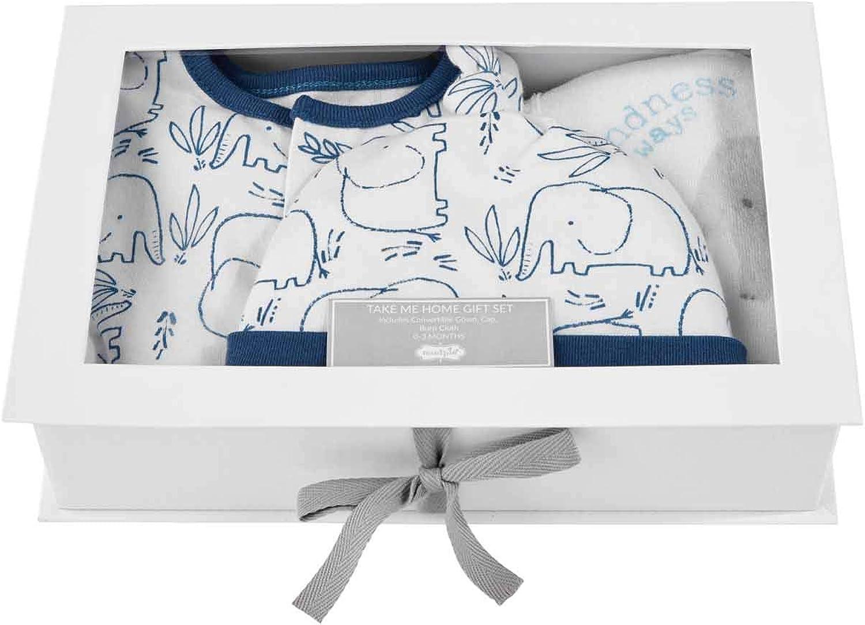 0-3 Months Mud Pie Baby Boys Blue Elephant Gown HAT Burp