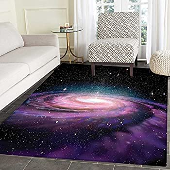 Galaxy Floor Mat Pattern Spiral Galaxy in Outer Space Andromeda Nebula Star Dust Universe Astronomy Print Living Dinning Room & Bedroom Mats 5'x6' Mauve Black