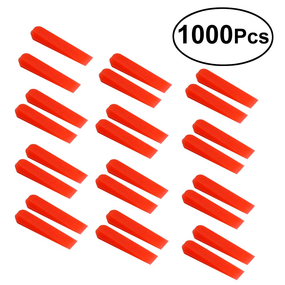 UKCOCO 1000pcs Red Wedges Anti lippage Tile Leveling System Wedges Tool for Wall Floor to Lock In Your Large and Heavy Tile