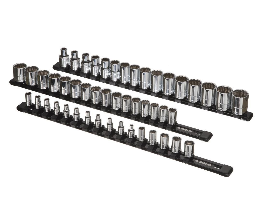 ARES 70087 1//2-inch Drive Socket Rails Hold 48 Sockets and Keep Your Tool Box Organized 3//8-inch 3-Piece Aluminum Socket Organizer 1//4-inch