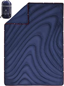 REDCAMP Lightweight Nylon Camping Blanket and Quilt for Warm or Cold Weather, Large Compact Multi-Purpose for Indoor Outdoor Sleeping with Stuff Sack, Blue/Dark Blue