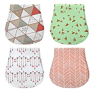 4Pack Cotton Newborns Baby Girl Brup Bib Cloth Triple Layer Burping Rags Soft Absorbent Thick Towels Shower Gift Set Busy Mom MY109E