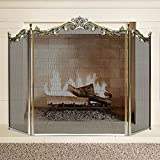 Large Floral Fireplace Screen 3 Panel Bronze Wrought Iron Metal Decorative...