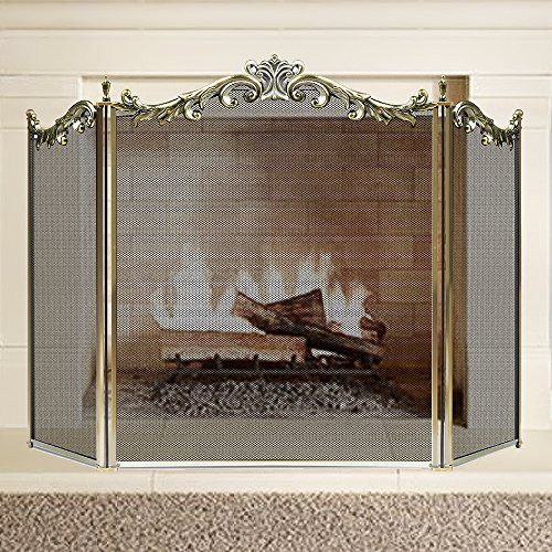 Check Out This Large Floral Fireplace Screen 3 Panel Bronze Wrought Iron Metal Decorative Mesh Fire ...