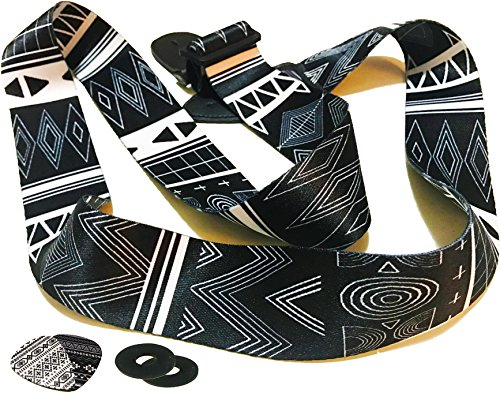 "Black and White 2"" Guitar Strap - Retro Aztec Guitar Strap B"