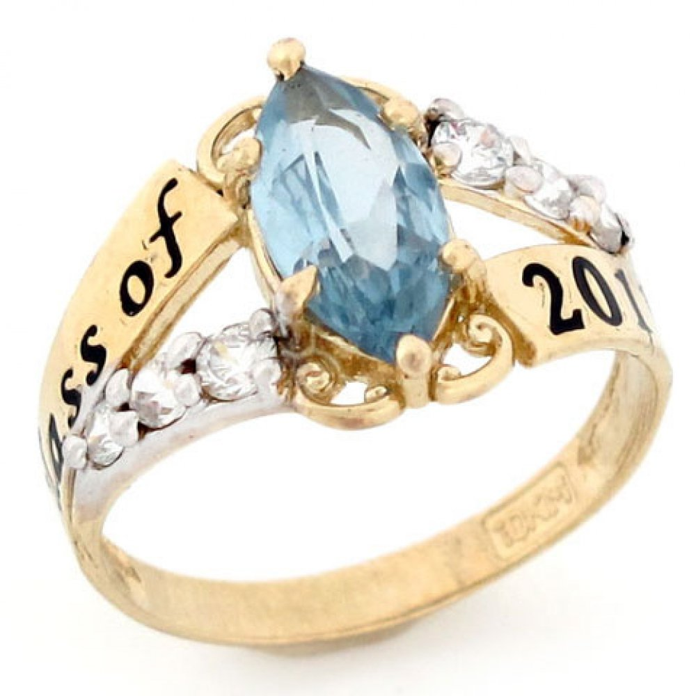 10k Gold Simulated March Birthstone Class of 2019 Graduation Ring