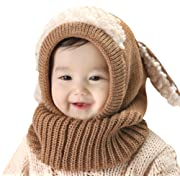 Baby Girls Boys Winter Hat Scarf Earflap Hood Scarves Skull Caps Coffee One Size