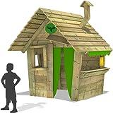 FATMOOSE Casetta per bambini HippoHouse Heavy XXL Casetta giochi da giardino con tetto in legno, camino e ampio bancone