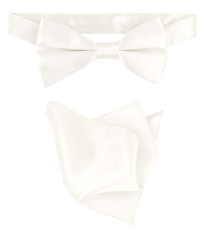 Biagio 100/% Silk BowTie Solid Off-White Ivory Color Mens Bow Tie /& Handkerchief