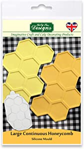 Katy Sue Designs Large Continuous Honeycomb Silicone Mould for Cake Decorating, Crafts, Cupcakes, Sugarcraft, Candies, Cards and Clay, Food Safe Approved, Made in The UK, Grey