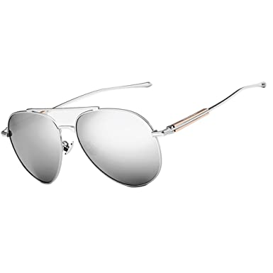 23b36a80d9 VEITHDIA 6696 Al-Mg Metal Frame Polarized Aviator Sunglasses 100% UV  Protection (Silver Frame mirrored Lens