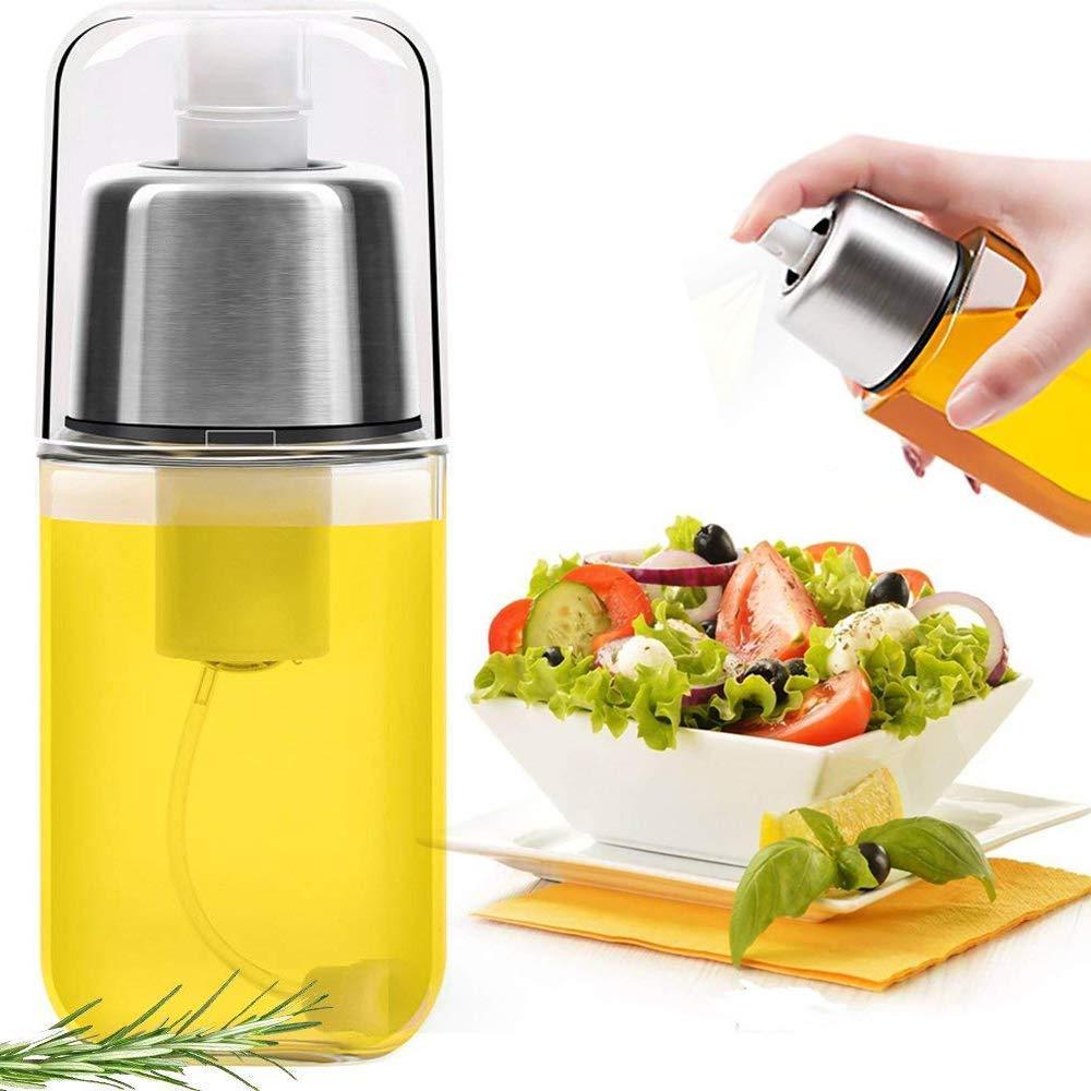 AATOP Olive Oil Sprayer Vinegar Spray Bottle Dispenser Kitchen Cruet Cooking Oil Mister Made of Transparent Glass and Stainless Steel, for BBQ, Grilling, Bread Baking, Salad(200ml)