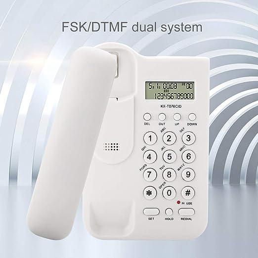 Tel/éfono Escritorio Blanco Tel/éfono de Pared Tel/éfono Fijo Landline Tel/éfono montado en la Pared telefono FSK//DTMF Sistema Dual Inicio Tel/éfono Hotel Tel/éfono Fijo en Oficina