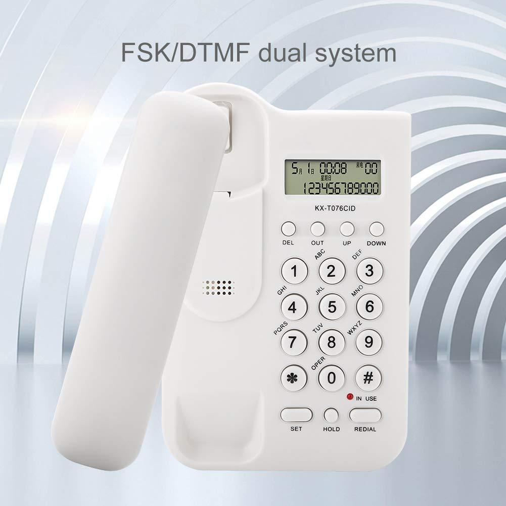 ASHATA Telefono Fijo FSK//DTMF,Telefono con Cable Mesa para Casa//Oficina//Hogar//Hotel,etc.Sobremesa Blanco