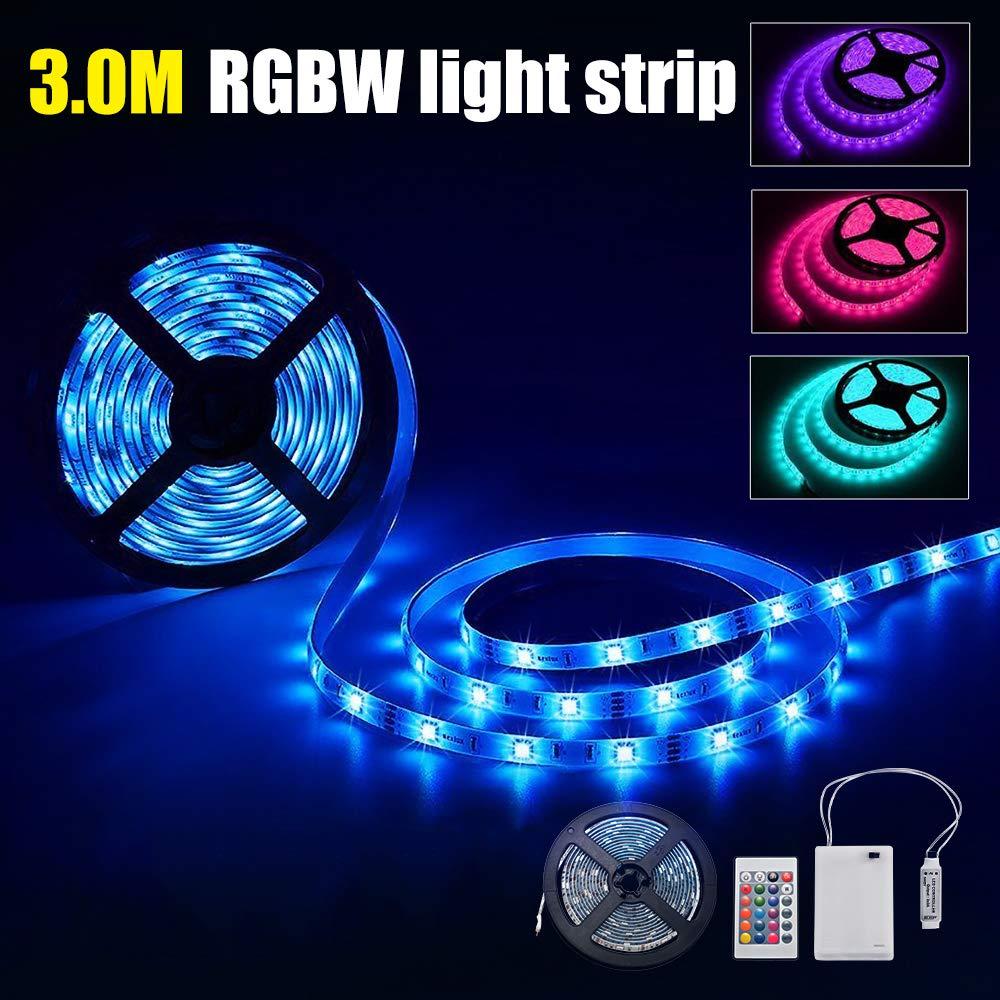 Kreema /Éclairage de corde flexible lumi/ères bande LED RVB /à piles 3m avec le bo/îtier dalimentation batterie et contr/ôleur distance RF 24 cl/és