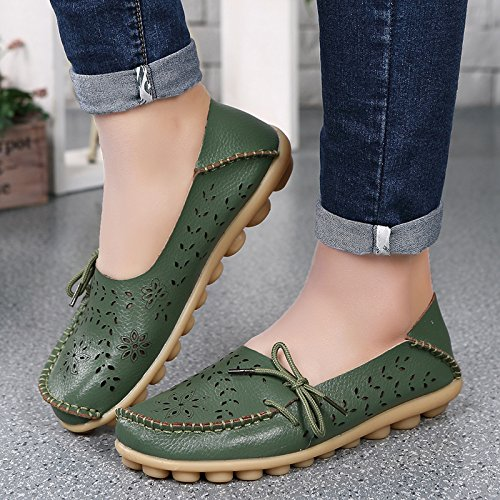 Wenhong Chaussures De Conduite Pour Femmes Cuir De Vachette Mocassins À Lacets Chaussures Bateau Chaussures Vert