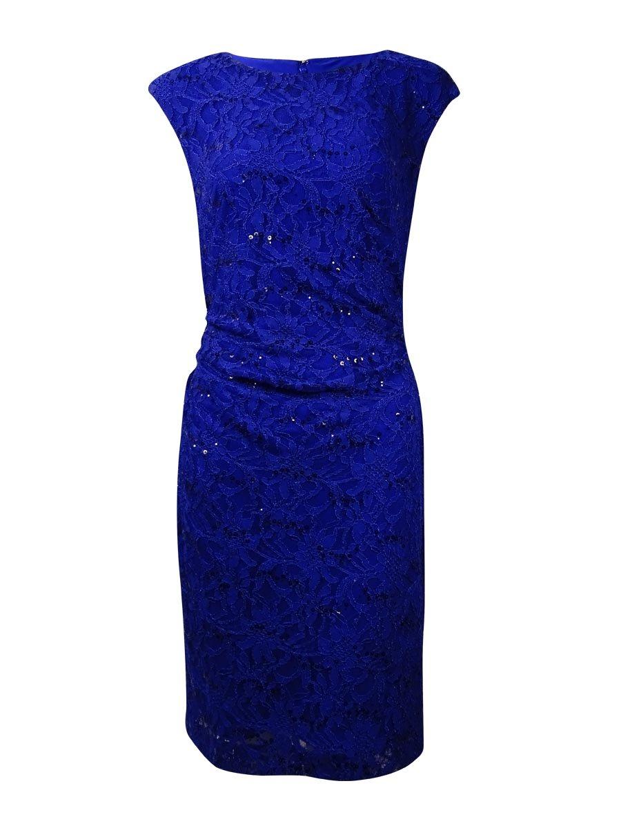 RALPH LAUREN Lauren Women's Sequined Bateau Lace Dress (22W, Blue Purple)