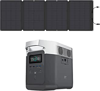 EF ECOFLOW Portable Power Station EFDELTA 1260Wh with 110W Solar Panel, 6 1800W (3300W Surge) AC Outlets, Solar Generator for Outdoors Camping RV Hunting Emergency