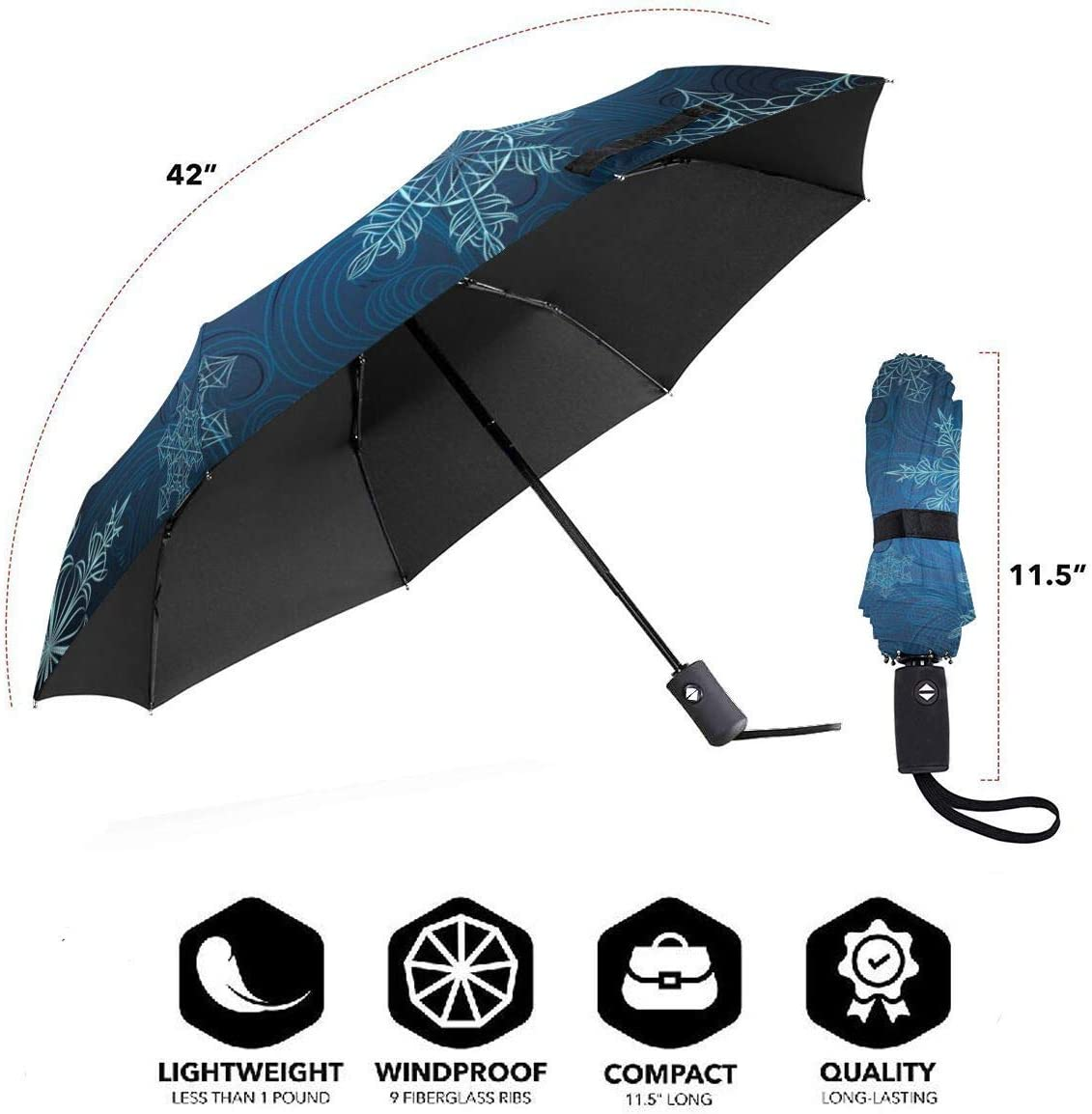 XGXC Snowflakes Abstraction Blue Background Automatic Tri-fold Umbrella Inside Print One Size