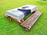 Ambesonne Nature Outdoor Tablecloth, Silhouette of Lonely Tree by Lake with Mirror Effects Melancholy Illustration, Decorative Washable Picnic Table Cloth, 58 X 84 inches, Indigo Baby Blue