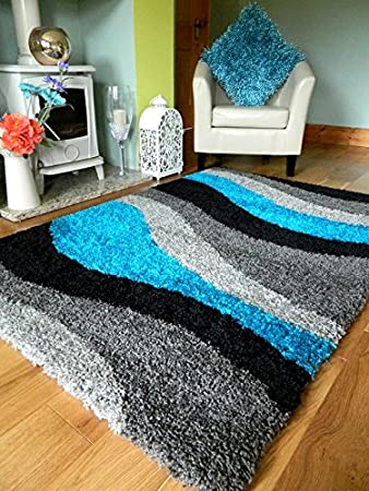 Very NEW MODERN BLACK SILVER GREY BLUE TEAL SOFT 5CMS THICK SHAGGY RUGS  CH73
