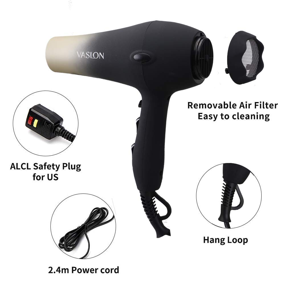 VASLON 1875W Quick-Dry Hair Dryer,Low Noise Negative Ionic Blow Dryer with Concentrators & Diffuser,2 Speed and 3 Heat Setting by VASLON (Image #8)