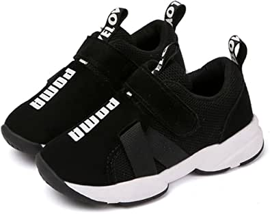 Daclay Zapatos niños Deportivo Transpirable y Transpirable con Parte Superior de Cuero cómoda con Zapatillas Velcro niña Sneakers Negro