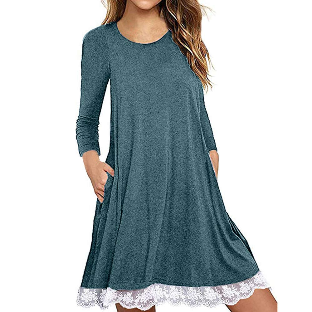 Women's Summer Long Sleeve T-Shirt Dress Cotton Lace Cold Shoulder Tunic Top Loose Beach Dress Blue by ASERTYL Dress