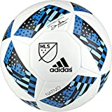 adidas Performance 2016 MLS Glider Soccer Ball, White/Shock Blue/Black, 5