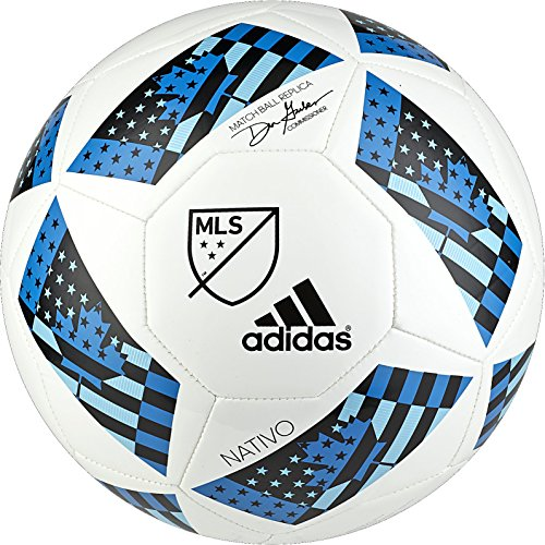 Soccer White Ball Official (adidas Performance MLS Glider Soccer Ball, White/Shock Blue/Black, Size 5)