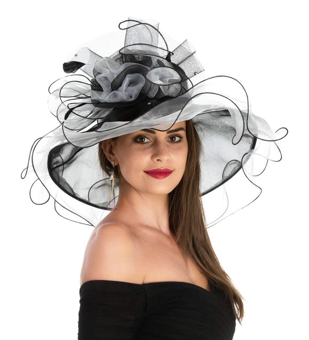Women's Organza Church Kentucky Derby British Fascinator Bridal Tea Party Wedding Hat Summer Ruffles Cap Detachable as Fascinator(F1-White Black Flower)