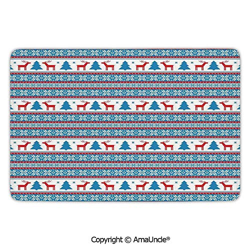 Customized Modern Door Mats,Christmas Decorations,Traditional Folkloric Knit Style Image Holiday Season Office Cafe Decor,Red Blue Pattern,L15.7xW23.6 Inches,for Indoor and Outdoor Area Rug,Short - Chair Ridge Dining Blue