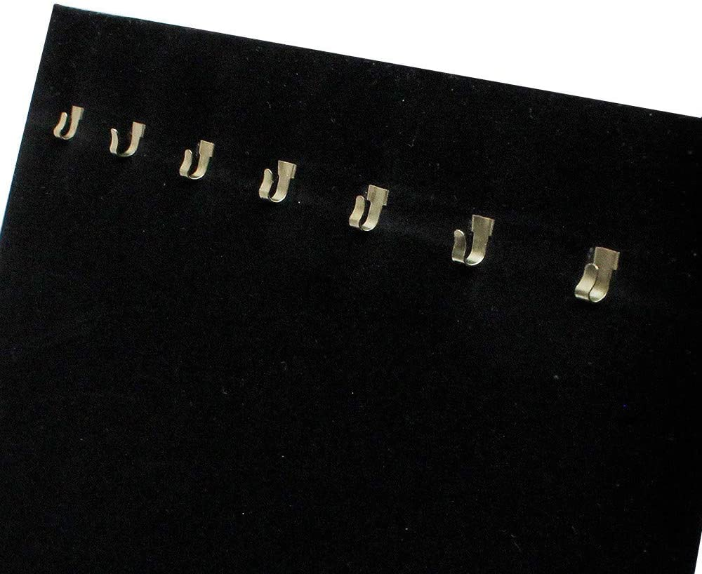 4 Pc 7-1//2/'/'W x 14/'/'H Black Velvet 7 Hook Easel Stand Necklace Chain Display